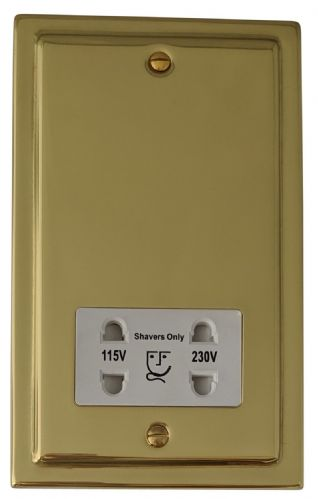 G&H TB30W Trimline Plate Polished Brass Dual Voltage Shaver Socket 115-230V